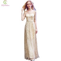 New Simple Elegant Light Gold Evening Dress Bride Banquet Half Sleeved Floor-length Party Formal Gown