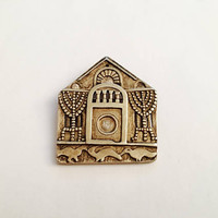 Vintage MMA - Metropolitan Museum of Art - Gold Tone Temple Brooch/Pendant, Religious Jewelry