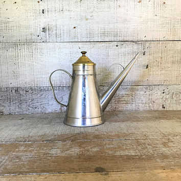 Watering Can Small Mid Century Watering Can Maple Syrup Dispenser Metal Pitcher Long Spout Pitcher Unique Oil Can