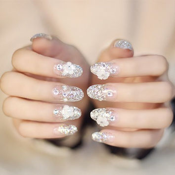 24 PCS Transparent Glitter and Floral Nail Art