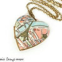 Paris Eiffel Tower Map Necklace, Large Vintage Heart Locket,  France, Paris Necklace, Antique Map Jewelry