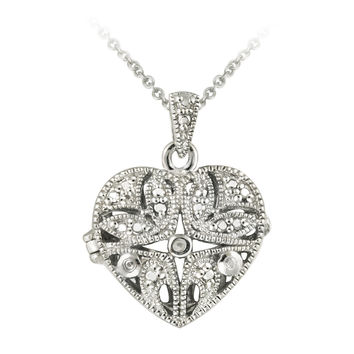 Sterling Silver Diamond Accent Filigree Flower Heart Locket Necklace