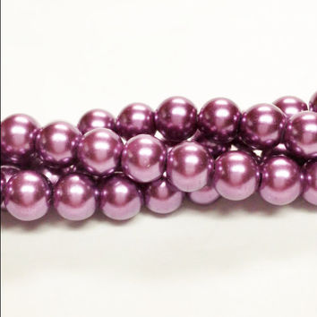 "Purple Faux Pearls, 8mm Purple Beads, 8mm Round Glass Pearl Bead, 8mm glass Beads, 55 Pearls,  Pearls, Loose Pearls, 16"" Strand of Pearls"