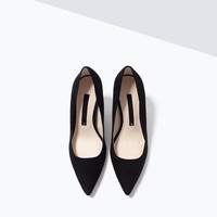 High heel leather court shoe with pointed toe