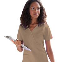 Everyday Scrubs by Dickies Womens Empire Mock Wrap Solid Scrub Top