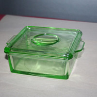 Green Depression Glass Square Refrigerator Dish with Lid & Handles Hazel Atlas