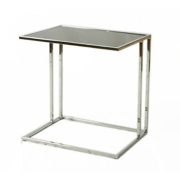 Pastel Norway End Table - Chrome Base - Black Glass Top