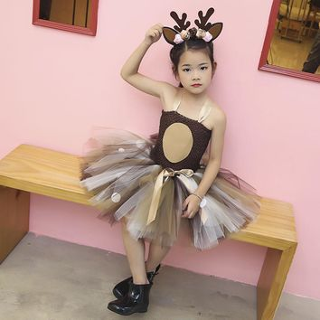 Christmas Reindeer Tutu Dress Girls Winter Set For Kids / sizes 2T - 14