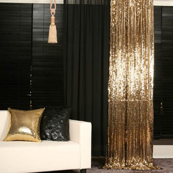 Order to made Gold Sequins Beaded Curtains Drapery Panel Roon Divider Perfect for Living room, Bed room