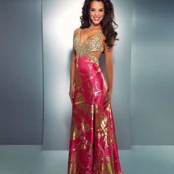 Mac Duggal 2014 Prom Dresses - Hot Pink & Gold Gown
