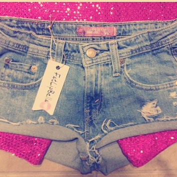 Pink sparkling Pockets, distressed shorts