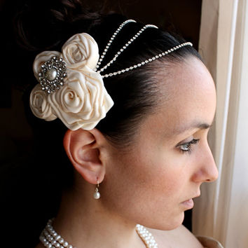 Evelyn - Ivory Satin Flowers and Rhinestones Gatsby Vintage Inspired Bridal Hair Combs Head Piece, Wedding Hair Piece, Bride, 1920s