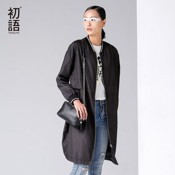 Toyouth Long Boomer Jacket Autumn Winter Women Batwing Sleeve Zipper Closured Baseball Outwear Baseball Jackets Black