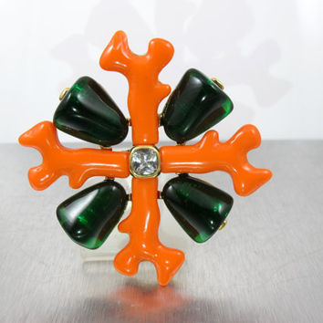 Kenneth Jay Lane Brooch, KJL Coral Collection Heraldic Maltese Cross, Faux Coral Green Resin Crystal, Couture Statement Jewelry 3.50""