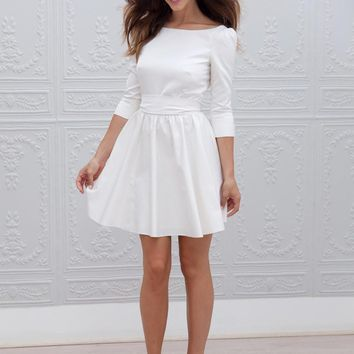2019 Designer Cheap A-line Short Mini 3/4 Sleeves Informal Reception Wedding Dresses Simple  Sexy Open Back Bridal Gown New