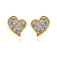 Arinna Swarovski Clear Crystal Love Gp Cute Earrings