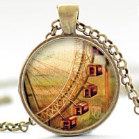 Grande Roue de Paris Necklace, Paris Jewelry, Ferris Wheel Pendant, Paris Charm (532)