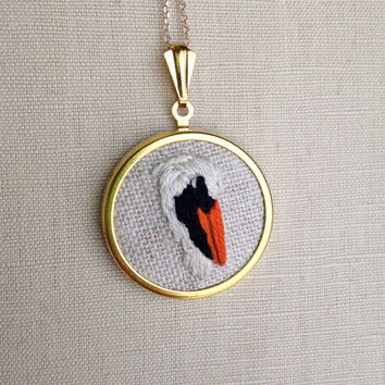 Embroidered Bird Necklace Pelican Embroidery Pendant or Brooch