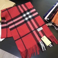 Red New!! Authentic Burberry 100% cashmere scarf New!
