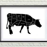 Cow Beef Butcher Diagram, Kitchen Art Print, Decor Farm Animal Wall Art, Kitchen black and white Wall Decor *114*