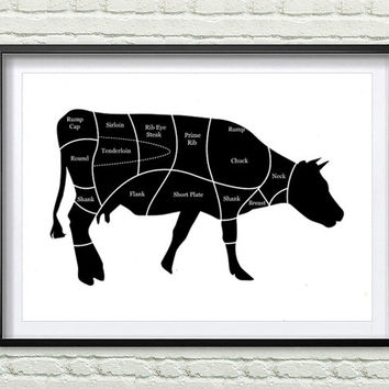 Cow Beef Butcher Diagram, Kitchen Art Print, Rustic Decor Farm Animal Wall Art, Kitchen black and white Wall Decor *114*