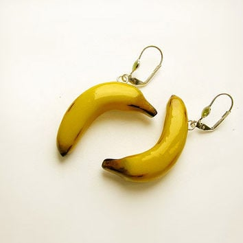 Banana yellow earrings, handmade funny bright jewelry, summer jewelry, green and yellow, vegetarian jewelry