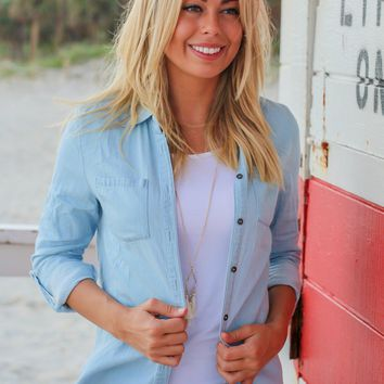 Light Blue Chambray Button Down Top