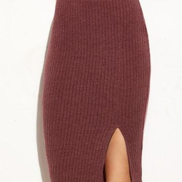 Ribbed side split bodycon skirt