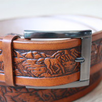 Custom Leather Belt  full grain leather belt Tooled Leather Belt Men's Leather Belt horse tan handmade belt buckle western belt mens gift