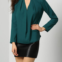 Solid Color Cut-Out Long Sleeve Blouse