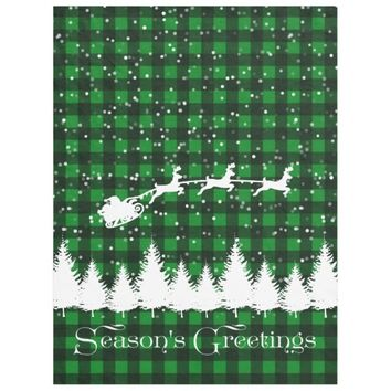 Santa's Christmas Sleigh Green Fleece Blanket