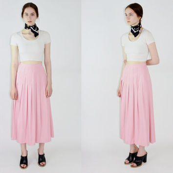 vtg baby pink maxi skirt accordion skirt long midi skirt pastel pink pleated accordian skirt minimalist skirt medium med m