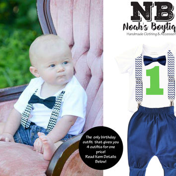Navy Blue Chevron First Birthday Outfit Lime Number with Pants
