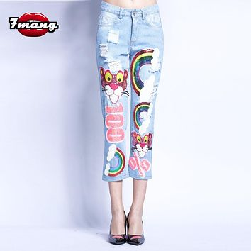 7mang 2017 new summer women novelty harajuku cute cartoon leopard sequins straight jeans street hole party denim pants