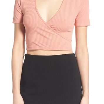Missguided Rib Wrap Front Crop Top | Nordstrom