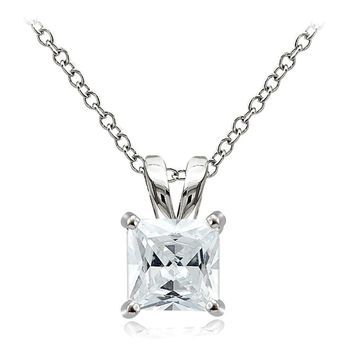 925 Sterling Silver 3ct Cubic Zirconia 8mm Square Solitaire Necklace
