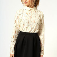 Freya Pearl Collar Lace Shirt