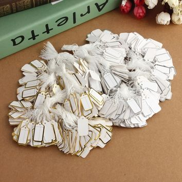 500pcs Labels Tie String Strung Price Tickets Jewelry Watch Clothing Display Signs Hanging Paper Tags