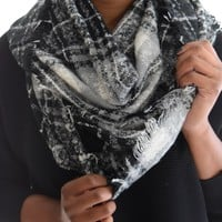 Plaid Infinity Scarf In Black
