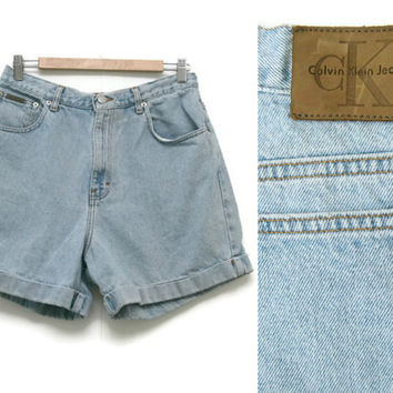 Vintage Calvin Klein Shorts~Size Medium-Large/Waist 29-30~80s 90s High Waisted Denim Jean Light Wash Cuffed Shorts~By Calvin Klein Jeans