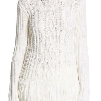 Tory Burch 'Valero' Fringe Hem Cable Knit Merino Blend Sweater | Nordstrom
