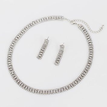 Silver Plated Rhinestones Crystals Necklace Earrings Set
