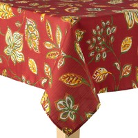 Harvest Leaf Tablecloth - 60'' x 84'' (Red)