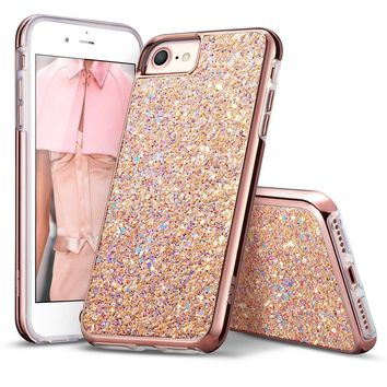 "iPhone 7 Case,iPhone 6 Case,ESR Bling Glitter Sparkle Dual Layer Shockproof Hard PC Back + Soft TPU Inner Shell Skin for 4.7"" iPhone 7/6(Metallic Peach)"
