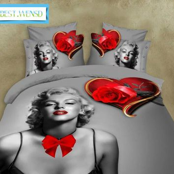 BEST.WENSD 5D Bedclothes Marilyn Monroe rose Jacquard Wedding decorative 4pcs Bedding Sets King queen housse de couette adulte