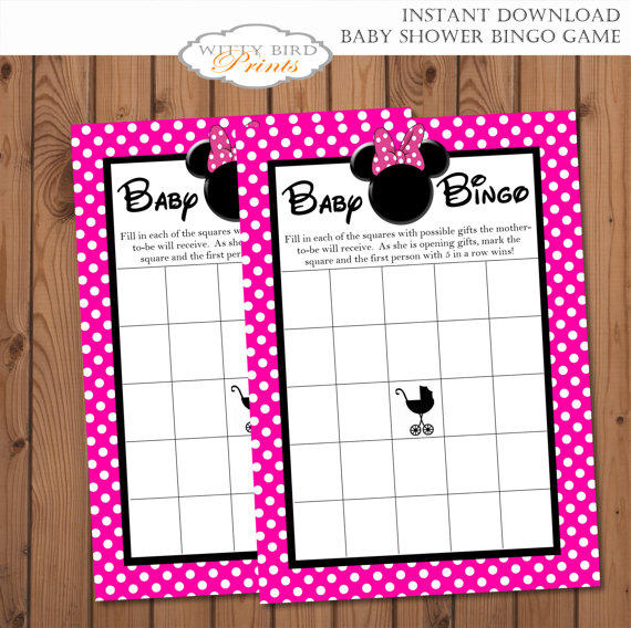 minnie mouse baby shower bingo game from wittybirdprints on