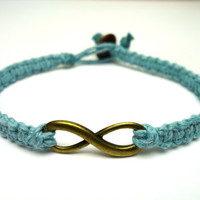 Infinity Bracelet, Light Blue Hemp Jewelry, Couples or Friendship Bracelet, Brass Infinity Charm
