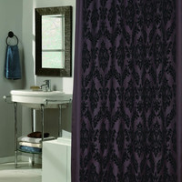 "Royal Bath Collection King's Seal Regal Fabric Shower Curtain with Poly Taffeta Flocking in Black/Brown Size: 70"" x 72"""