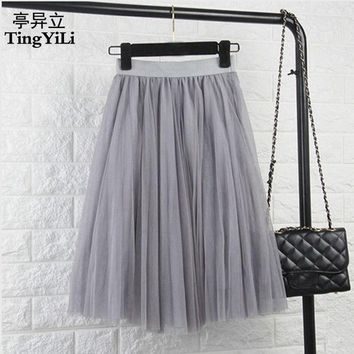 DCCKDZ2 TingYiLi Tulle Skirts Womens Black Gray White Adult Tulle Skirt Elastic High Waist Pleated Midi Skirt 2016