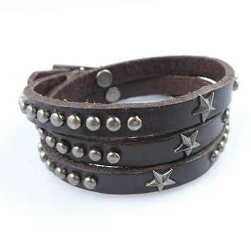 Fashion Punk  Rivets Adjustable Leather Wristband Cuff Bracelet - Great for Men, Women, Teens, Boys, Girls 2716s
